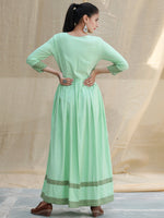 Pastel Purpose - Hand Block Printed Long Cotton Dress - D347FXXXX