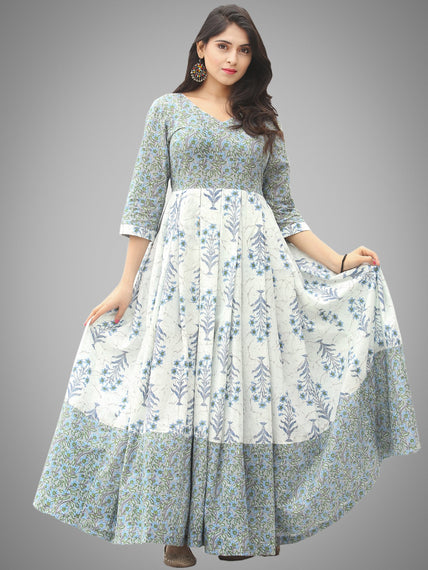 Saima - Grey Ivory Blue Block Printed Box Pleated Long Dress - D398F2042