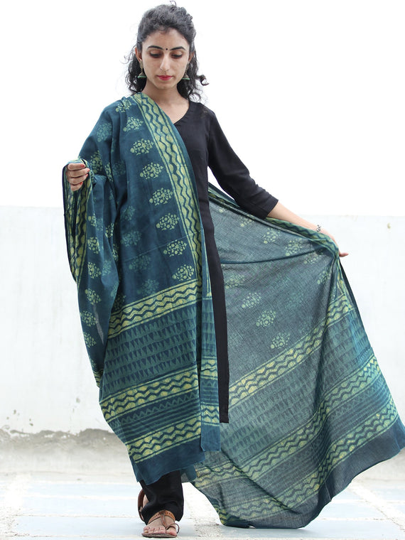 Indigo Green Yellow  Handloom Cotton Hand Block Printed Dupatta - D04170384