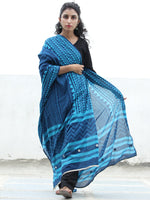 Indigo Blue Handloom Cotton Hand Block Printed Dupatta With Mirror Work - D04170385