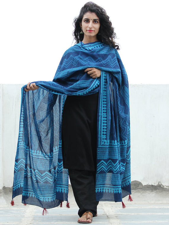 Indigo Blue Handloom Cotton Hand Block Printed Dupatta With Tassel - D04170386