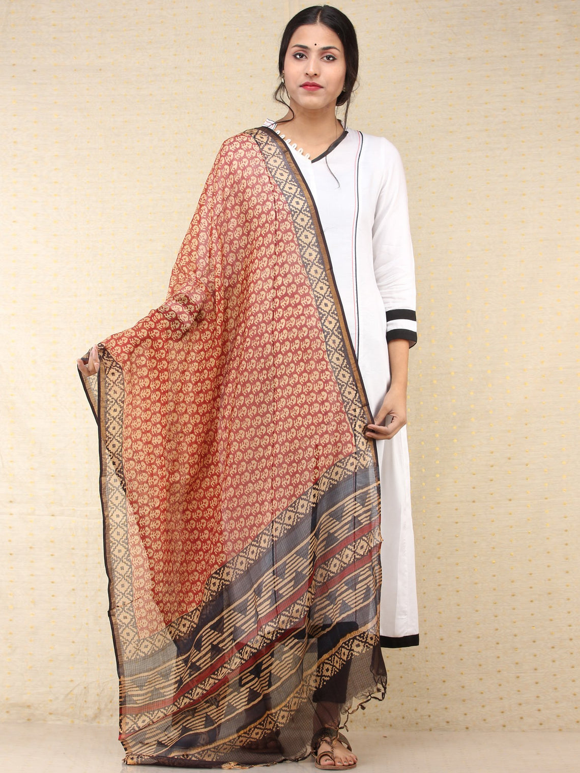 Beige Red Black Kota Silk Hand Block Printed Dupatta - D04170776