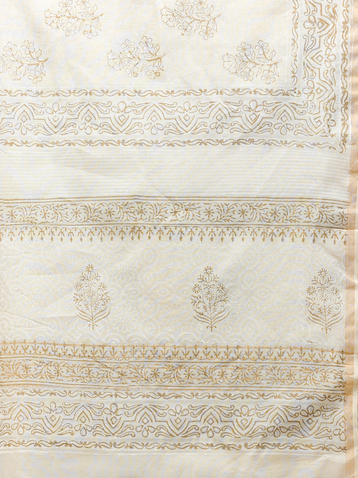 White Gold Chanderi Hand Block Printed Dupatta - D04170777