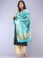 Banarasi Kanni Silk Dupatta With Zari Work - Sky Blue & Gold - D04170882