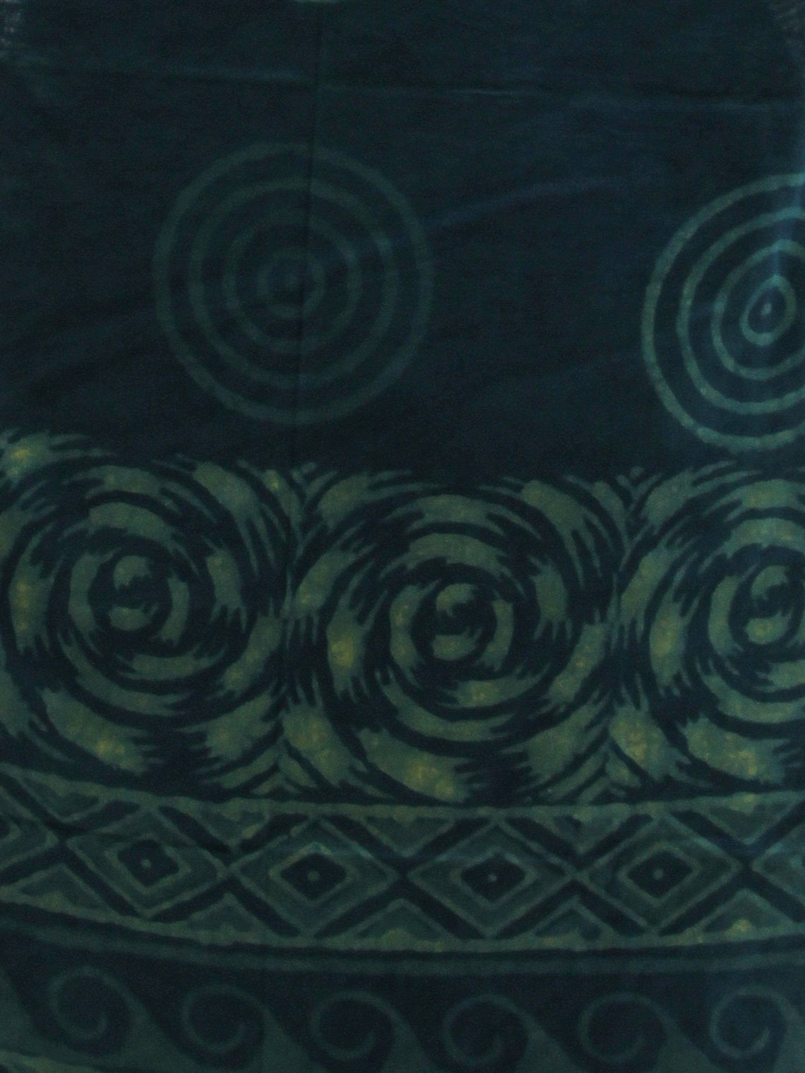 Deep Indigo Green  Handloom Cotton Hand Block Printed Dupatta  - D04170389