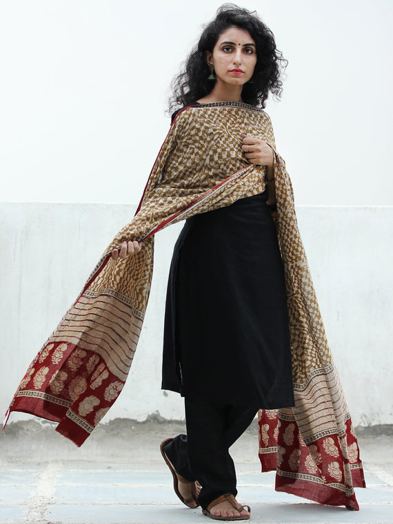 Beige Mustard Black Red Handloom Cotton Hand Block Printed Dupatta  - D04170390