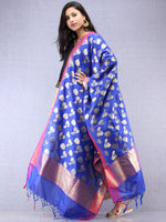 Banarasi Silk Dupatta With Zari Work - Electric Blue Magenta & Gold - D04170884