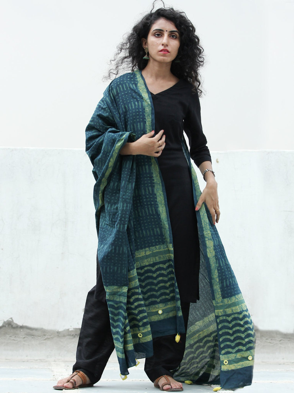 Deep Indigo Green Handloom Cotton Hand Block Printed Dupatta  - D04170391