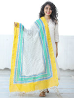 White Yellow Green Chanderi Hand Block Printed Dupatta - D04170625