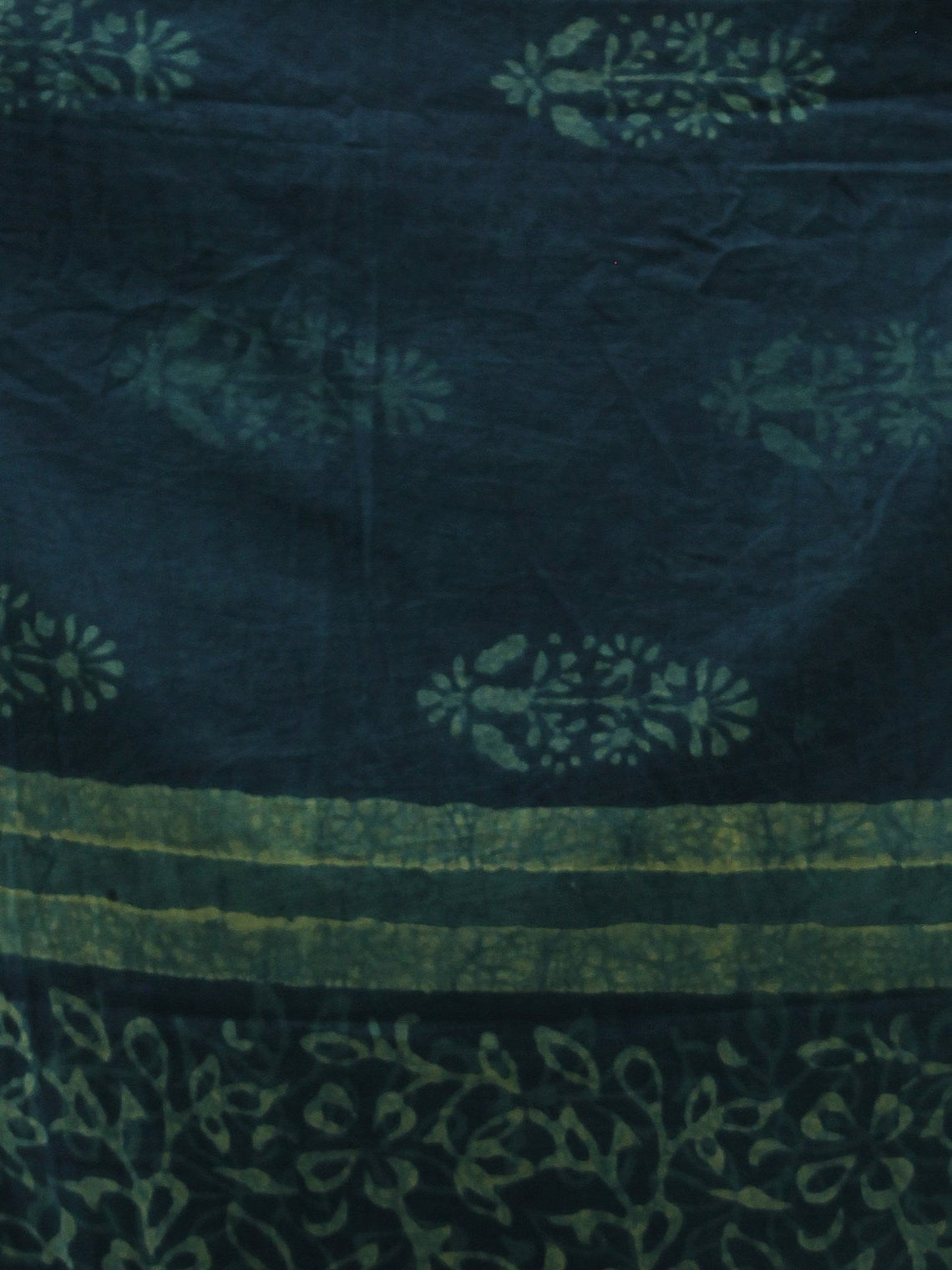 Deep Indigo Green Handloom Cotton Hand Block Printed Dupatta with Lace Border - D04170392