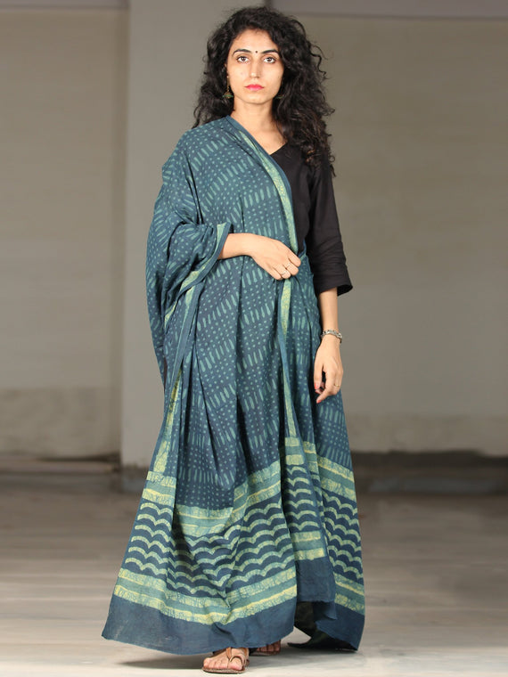 Deep Indigo Green Handloom Cotton Hand Block Printed Dupatta - D04170393
