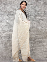 White Gold Chanderi Hand Block Printed Dupatta - D04170783