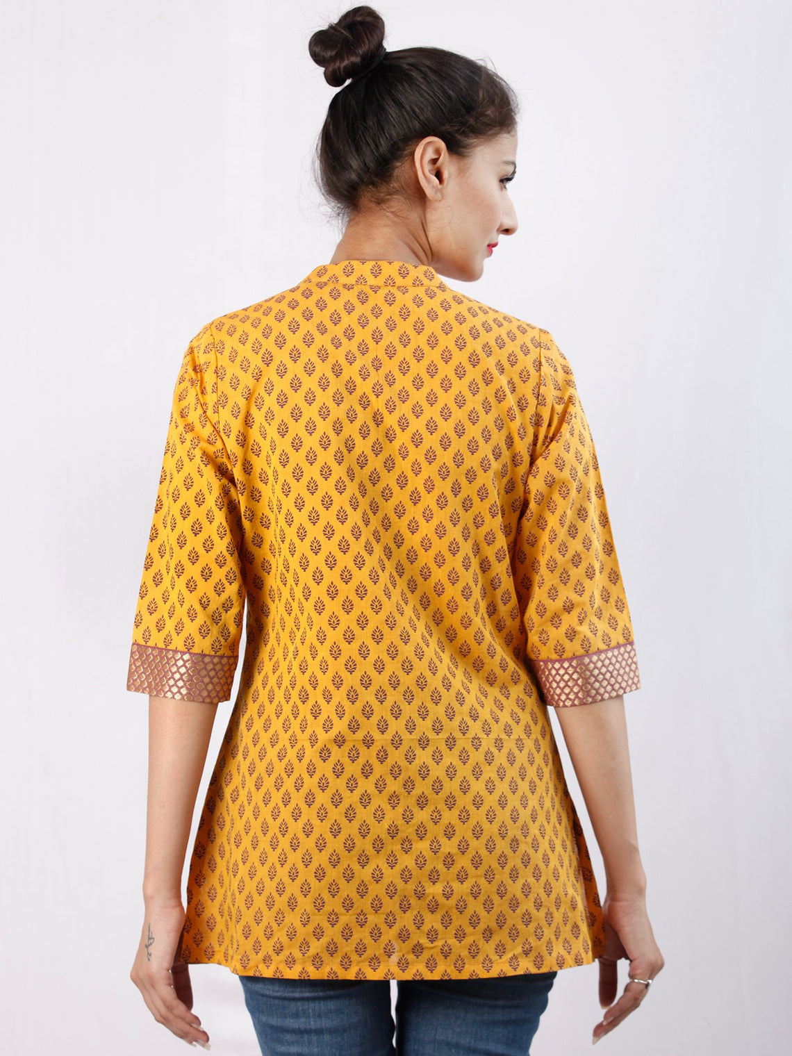 Yellow Purple South Handloom Cotton Top With  Zari Border - T48FXXX