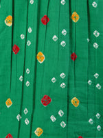 Parrot Green Bandhani Glace Cotton Top With Gotta  - T58FXXX