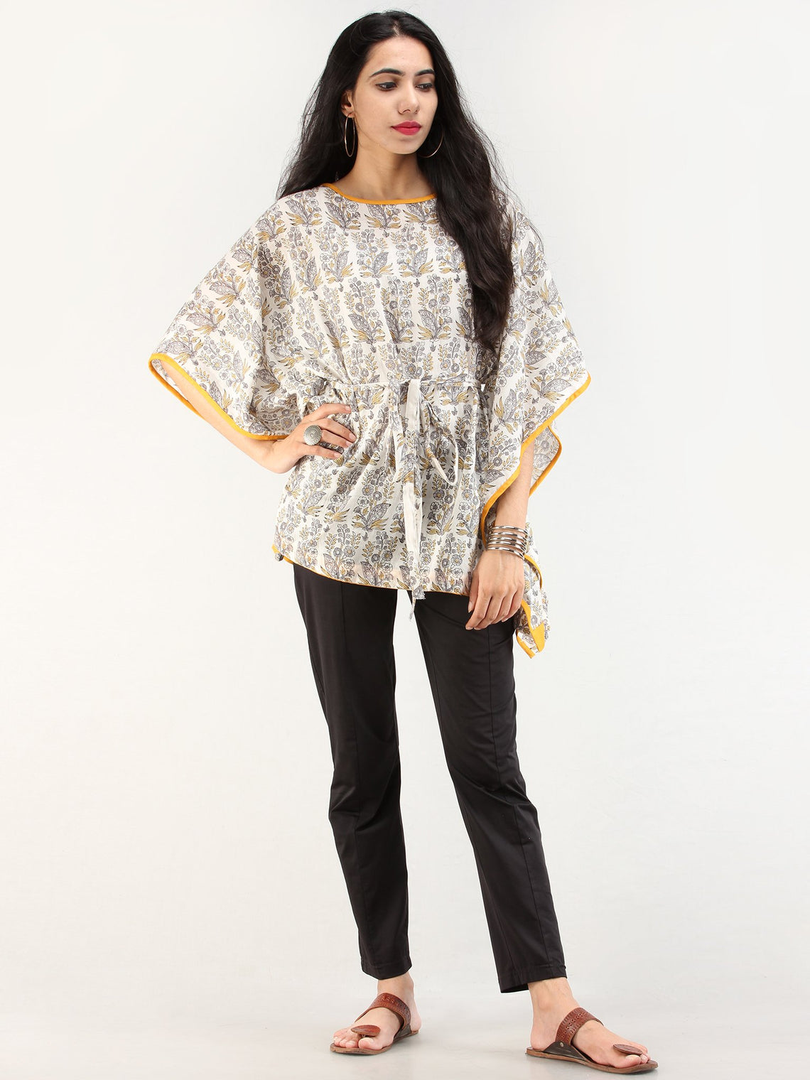Rangrez Ghazal - Kaftan Cotton Top - T72F2191