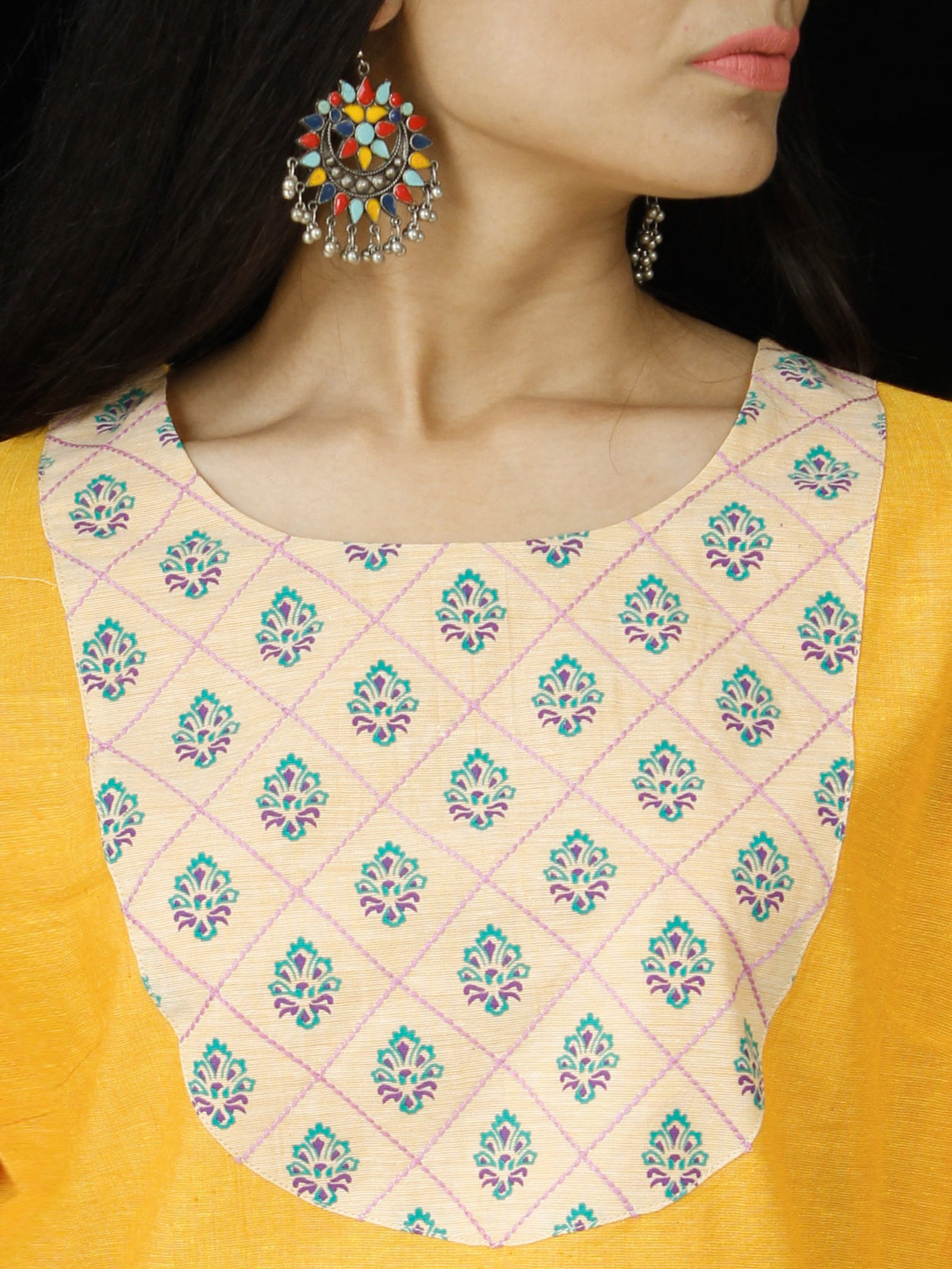Mustard Yellow South Handloom Cotton Top With  Zari Border - T45FXXX
