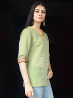 Sage Green South Handloom Cotton Top With  Zari Border - T46FXXX