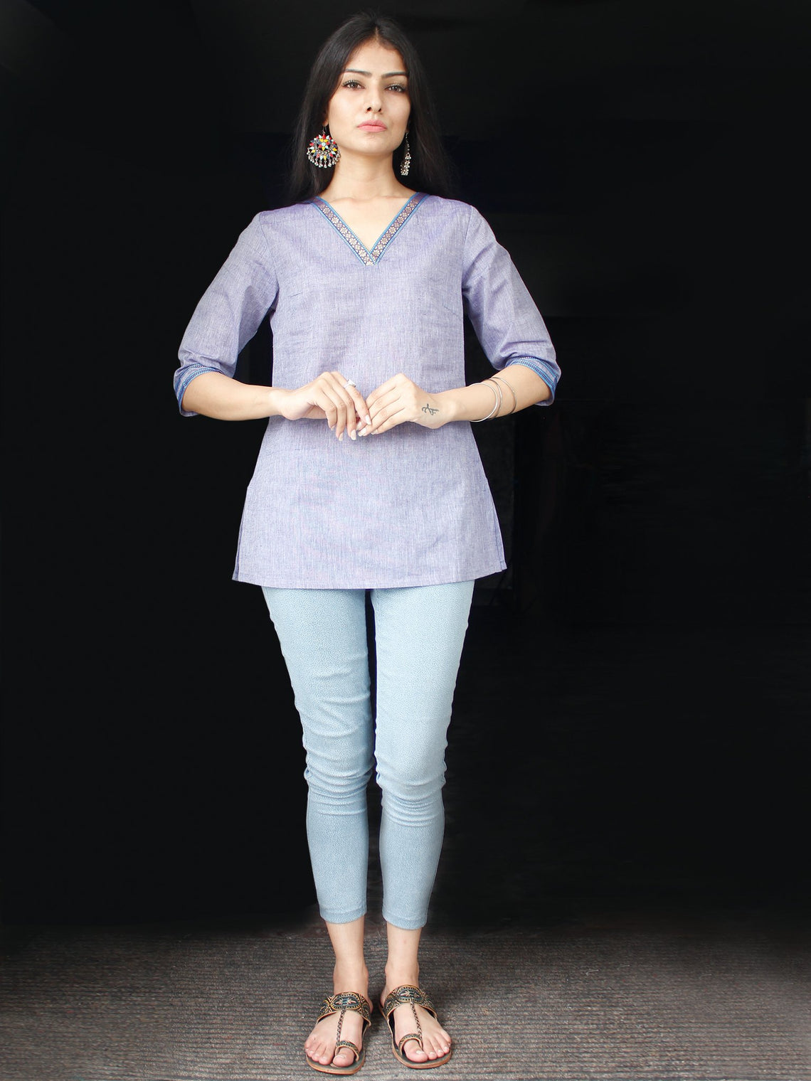 Steel Blue South Handloom Cotton Top With  Zari Border - T47FXXX