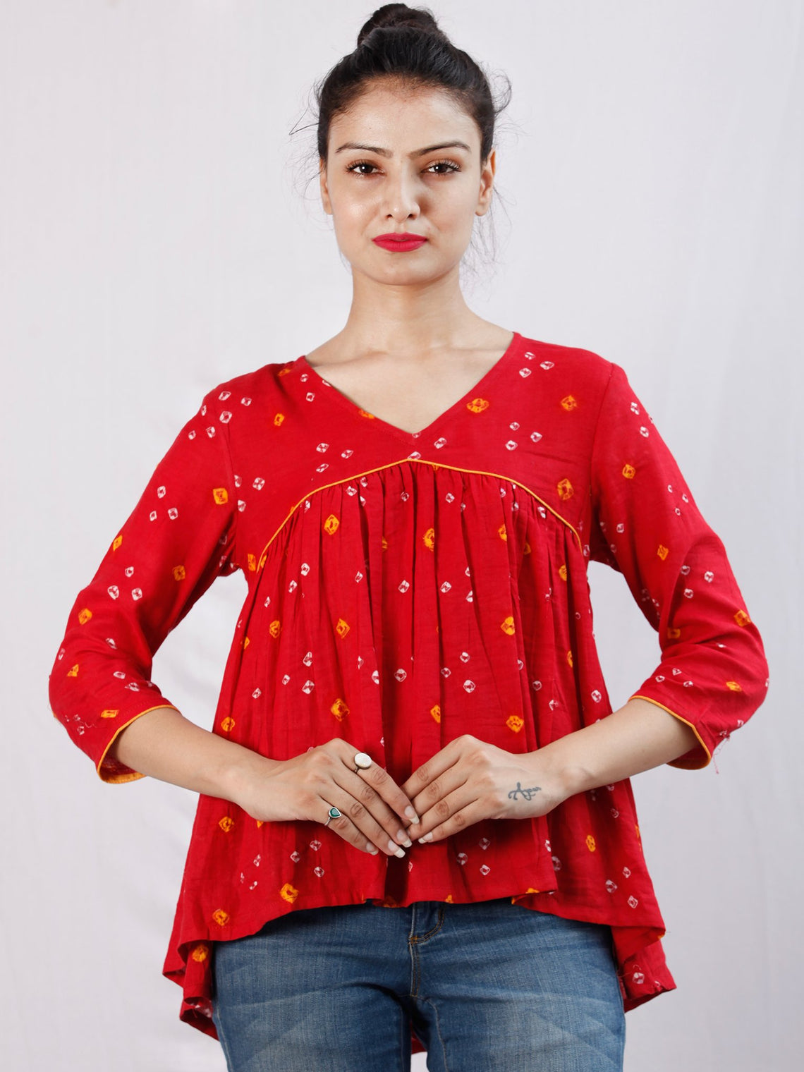 Red Bandhani Glace Cotton Top  - T51FXXX