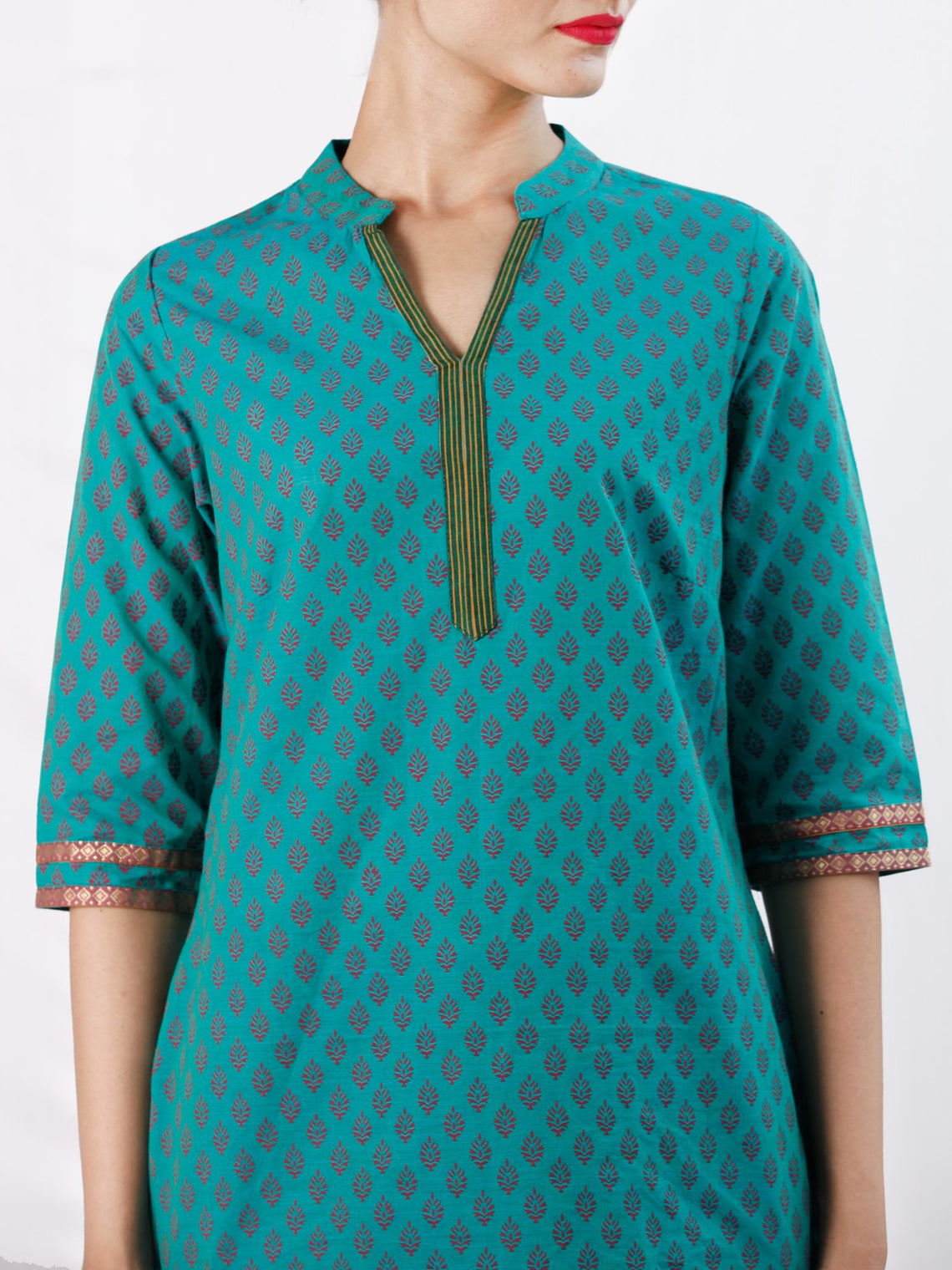 Teal Green Purple South Handloom Cotton Top With  Zari Border - T52FXXX