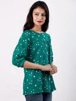 Green White Bandhani Glace Cotton Top With Shirt Style  - T56FXXX