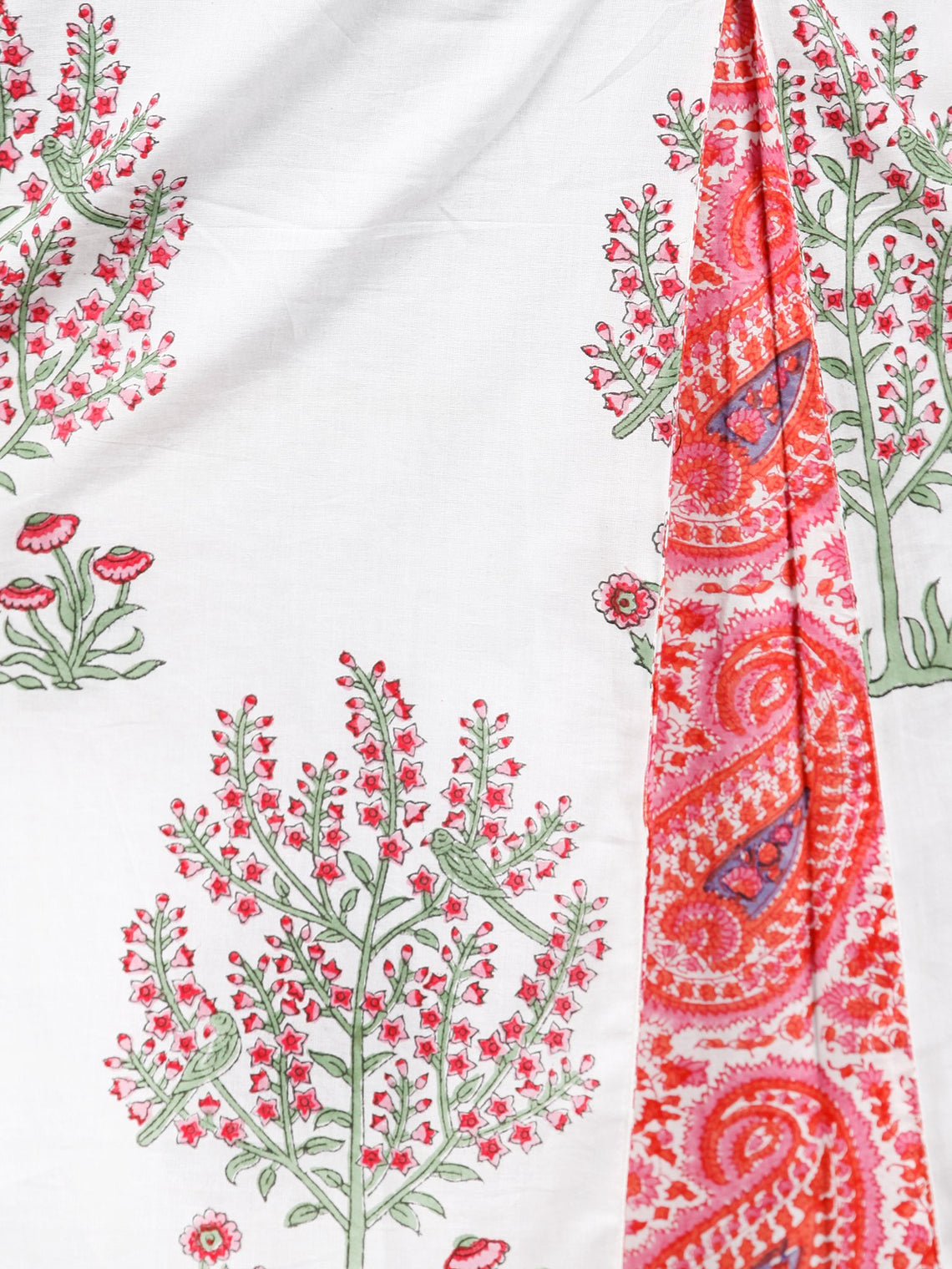 White Pink Green Hand Block Printed Cotton Long Dress With Pintucks  -  D288F1495