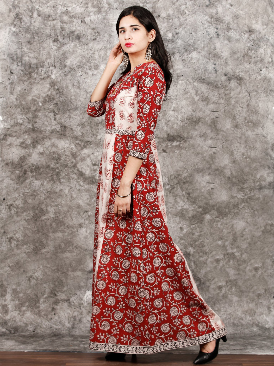 White Red Black Bagh Printed Asymmetric Panel Cotton Long Dress  - D309F1714
