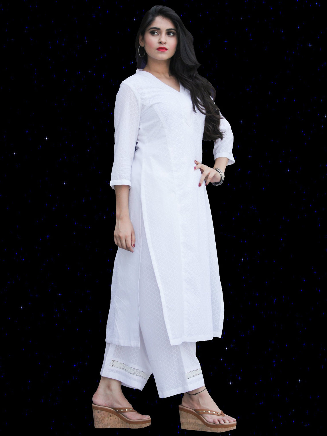 Chandni Madiha - Cotton Straight Kurta Palazzo Set - KS40SFP05