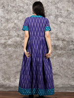 Purple Teal Blue Ivory Handloom Mercerised Ikat Long Cotton Dress With Collar - D281F1419