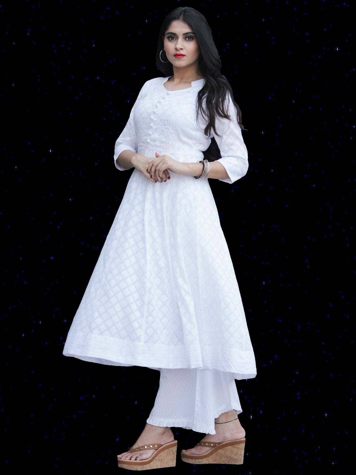 Chandni Karen -  Cotton Kurta Palazzo Set With Kota Dupatta - KS41SFP06WD