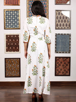 White Mustard Green Hand Block Printed Panel Cotton Long Dress - D282F1499