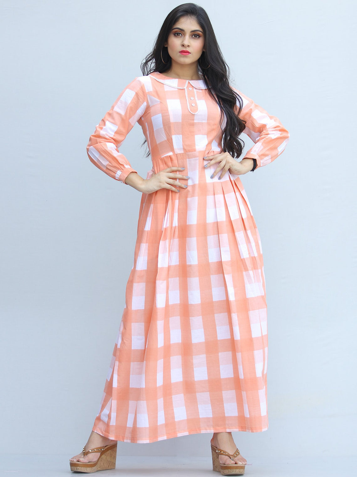 Gulzar Shezan -  Block Printed Knife Pleated Long Dress - D458F2289