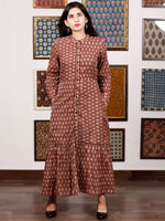 Brown Ivory Hand Woven Ikat Front Open Tier Dress With Pockets - D193F1039