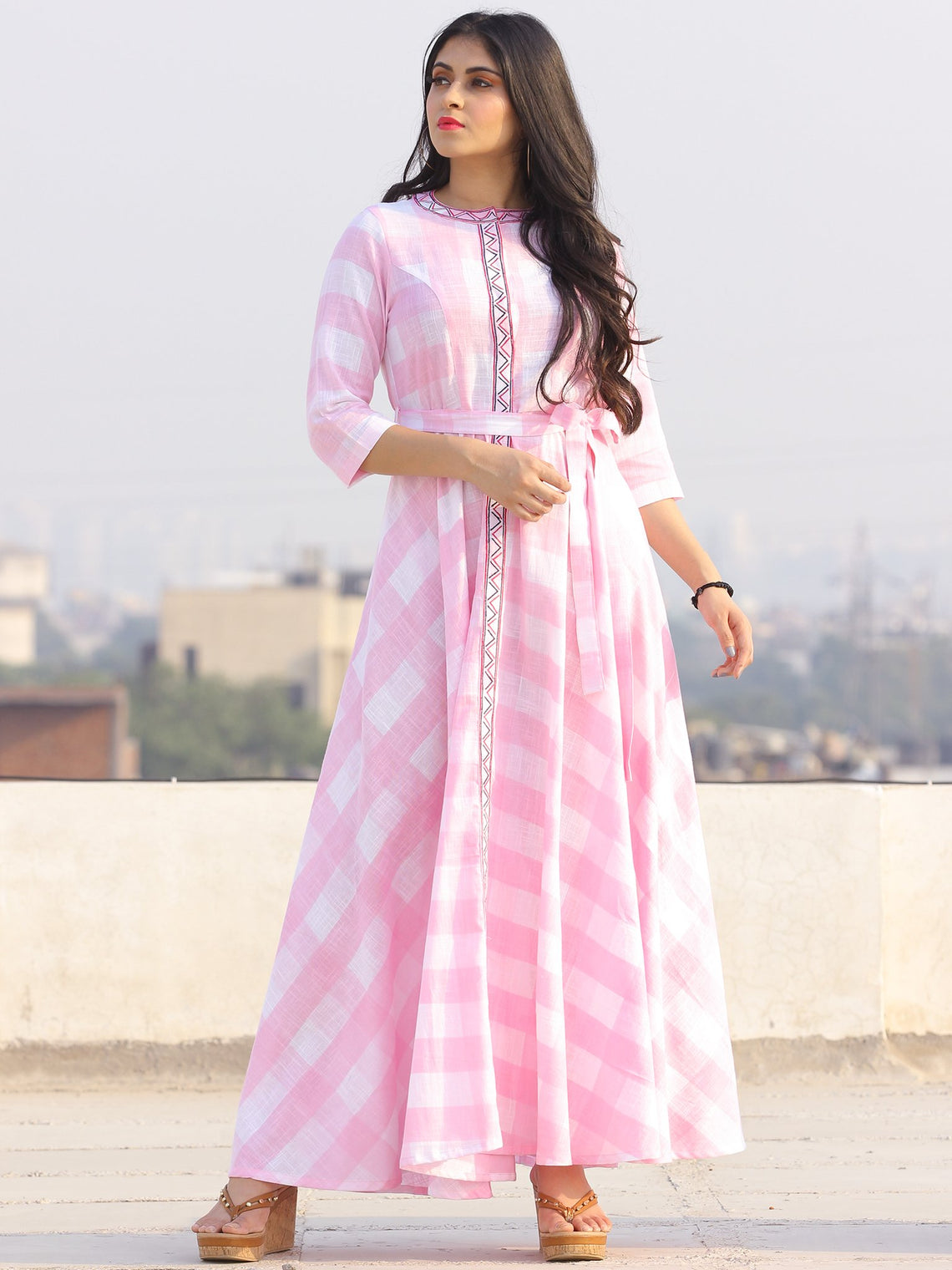 Gulzar Gulabi - Dress - Round Collar Embroidered Cotton Long Dress - D458F2288