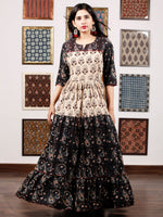 Black Beige Teal Green Hand Block Printed Long Tier Dress With Pin Tucks - D221F1731