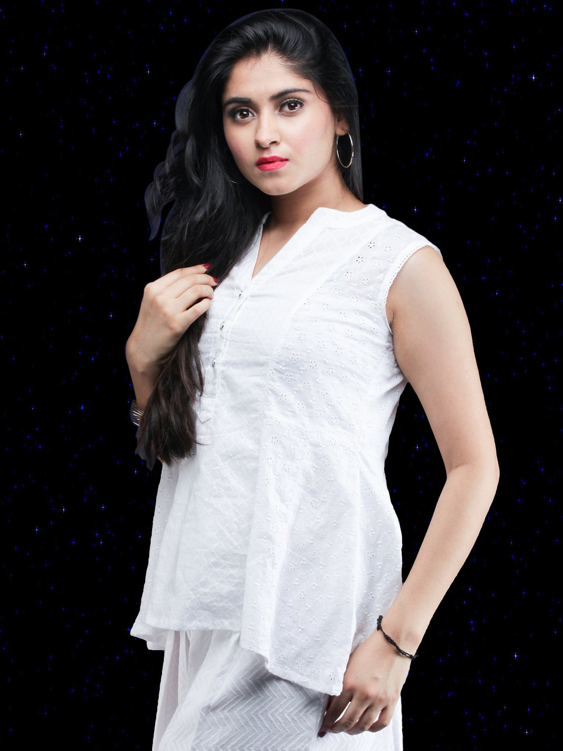 Chandni Jamina - Cotton Dobby Sleeveless Top - T69FP01