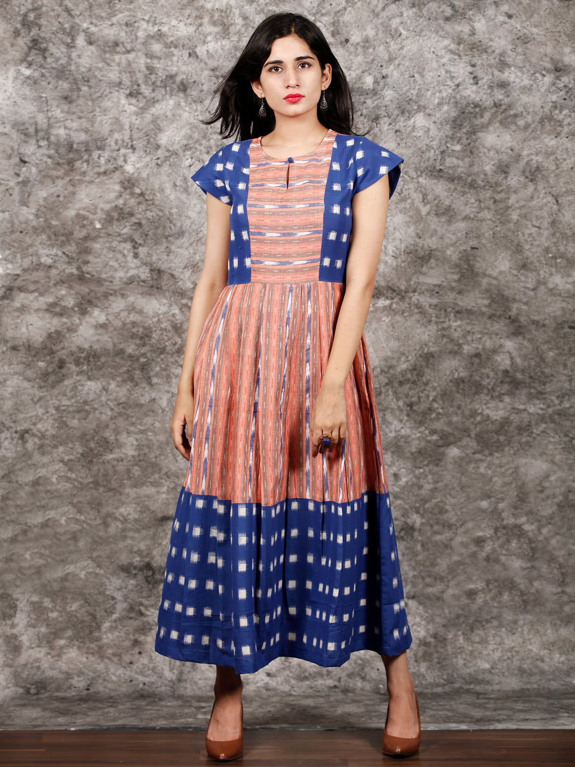 Royal Blue Orange  White Handwoven Ikat Dress With Princess Cut & Knife Pleates-  D310F1055