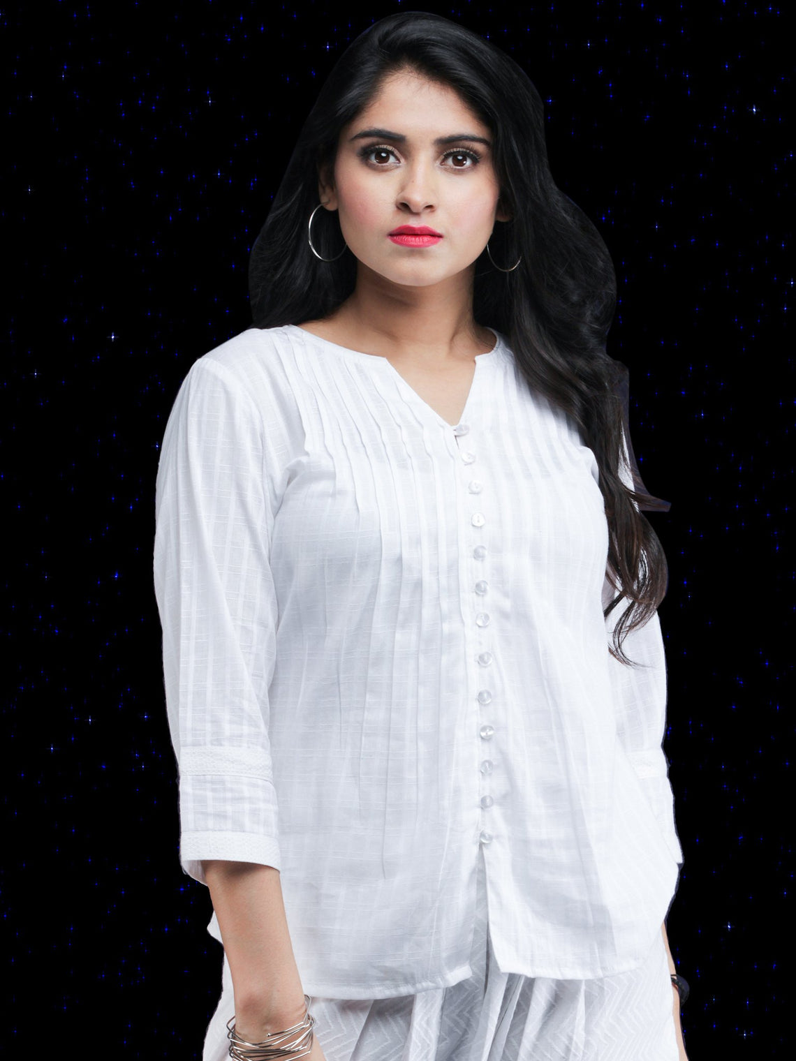 Chandni Saafnah - Cotton Dobby Shirt Top - T70FP02