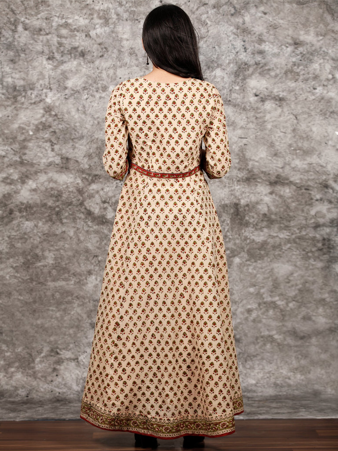 Naaz Aayna - Beige Rust Green Black Hand Block Printed Long Cotton Kali Dress With Full Lining - DS57F001