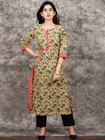 Beige Green Brown Hand Block Printed Kurta in Natural Colors - K122F1369
