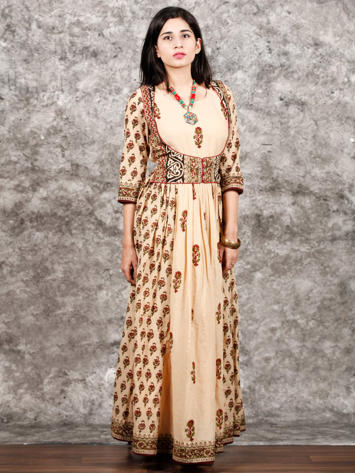 Naaz Afreen - Beige Maroon Black Hand Block Printed Long Gathers Dress With Lining - DS55F001