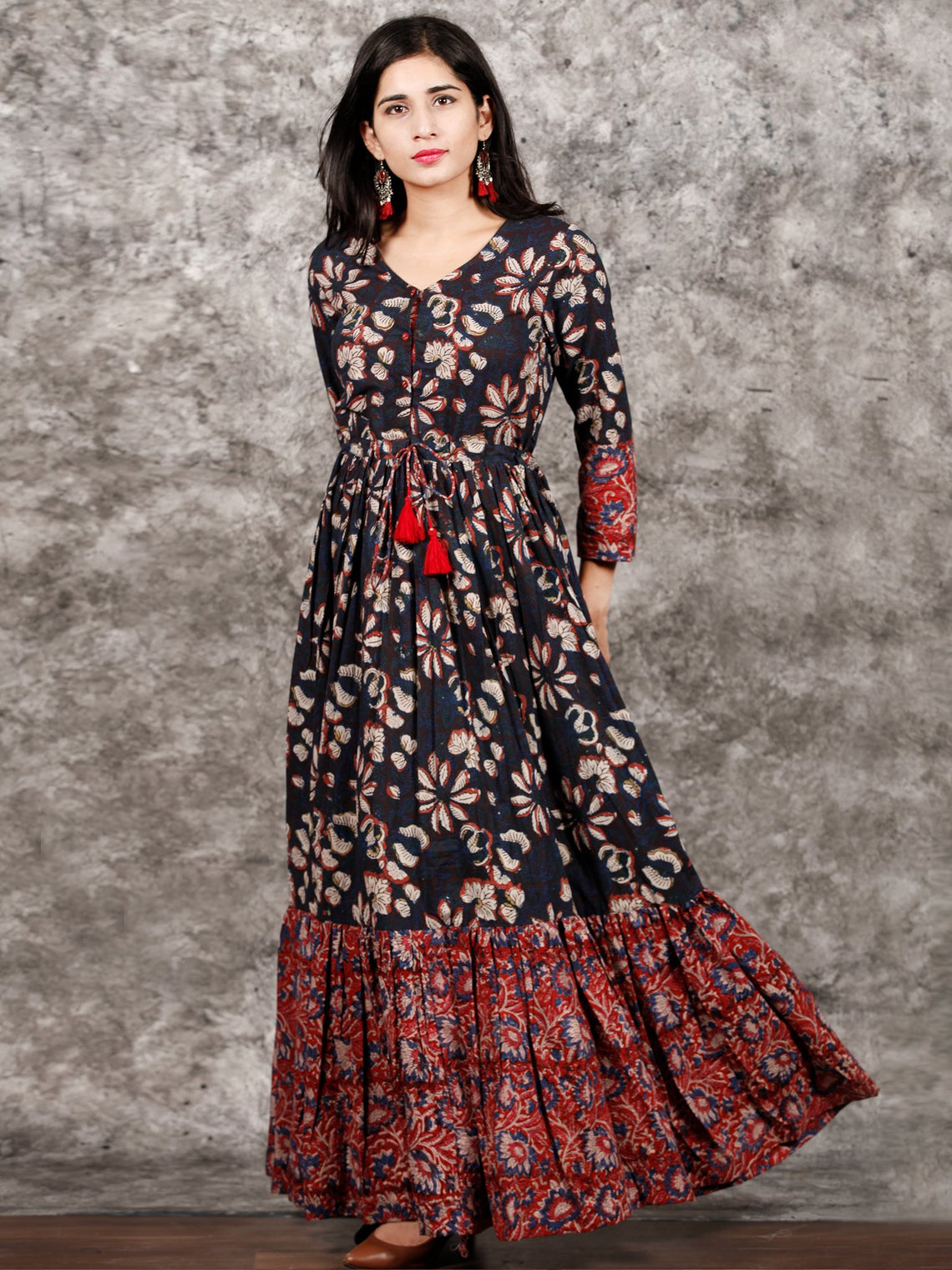 Indigo Brown Red Hand Block Printed Long Cotton Tie Up Waist Dress -  D170F1352