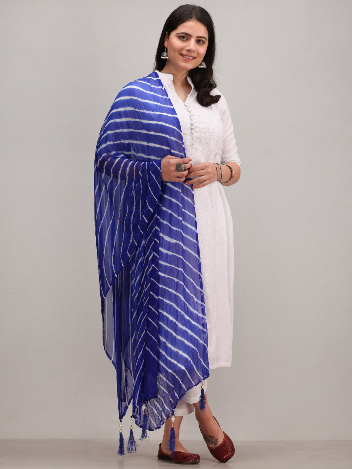Noor Alema -  Self Embroidered Kurta Pant Set With Bandhani Dupatta - KS114AYYD11