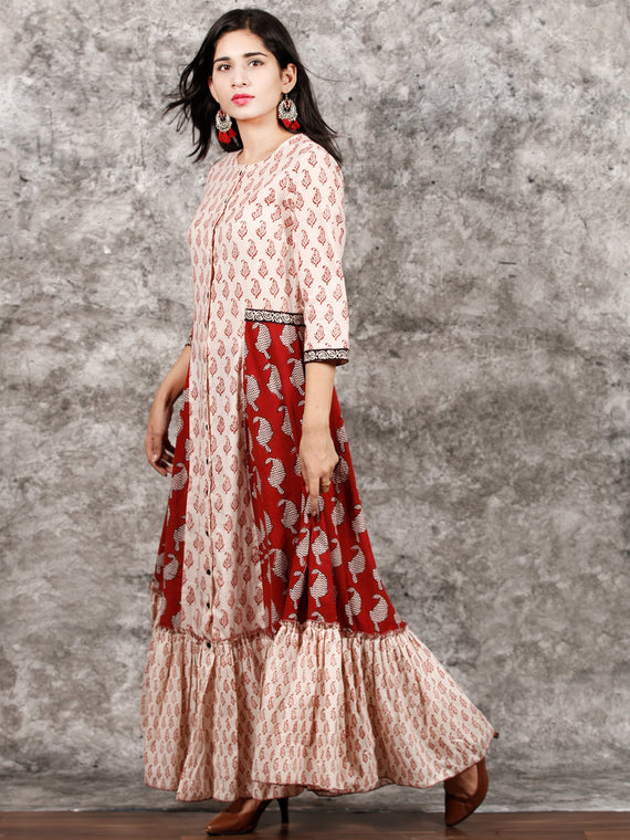 White Red Black Bagh Printed Panelled Cotton Long Dress With Front Open - D293F1719