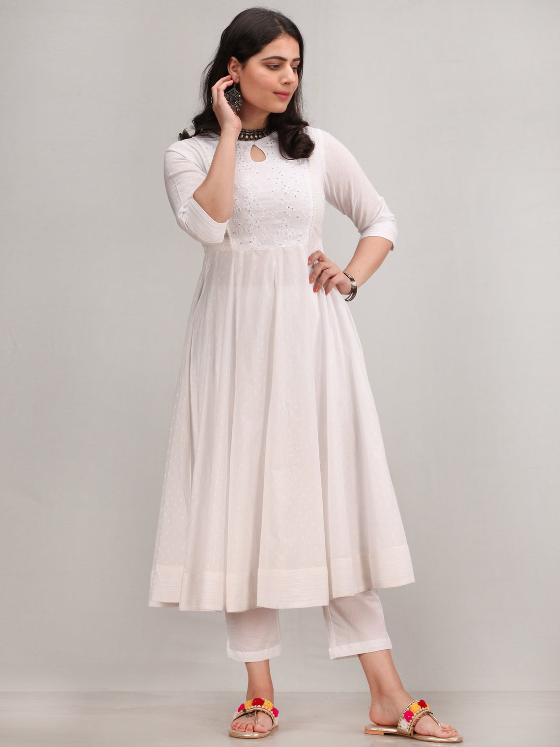 Noor Aashreen - Self Embroidered Anarkali Kurta Pant Set With Leheriya Dupatta - KS37AXXD4