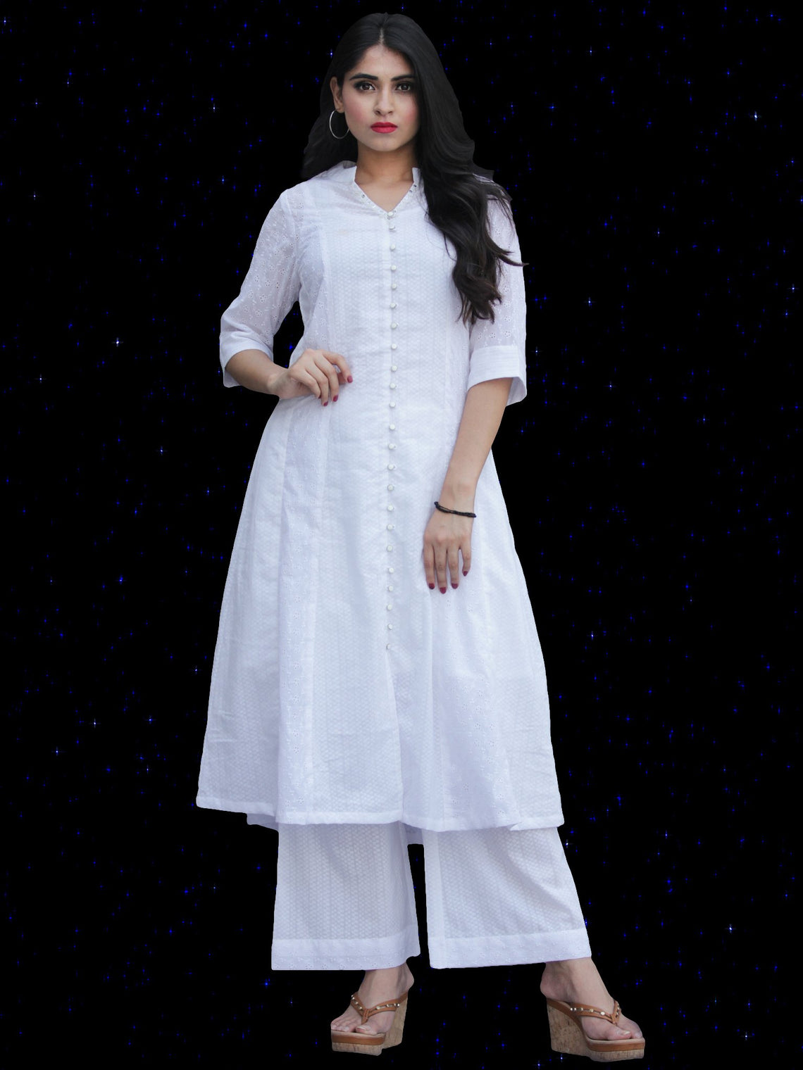 Chandni Hafa - Kurta Palazzo Set With Kota Dupatta - KS38SFP03WD