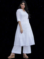 Chandni Hafa - Cotton Kurta Palazzo Set With Emrodiered Chiffon Dupatta - KS38SFP03BWD
