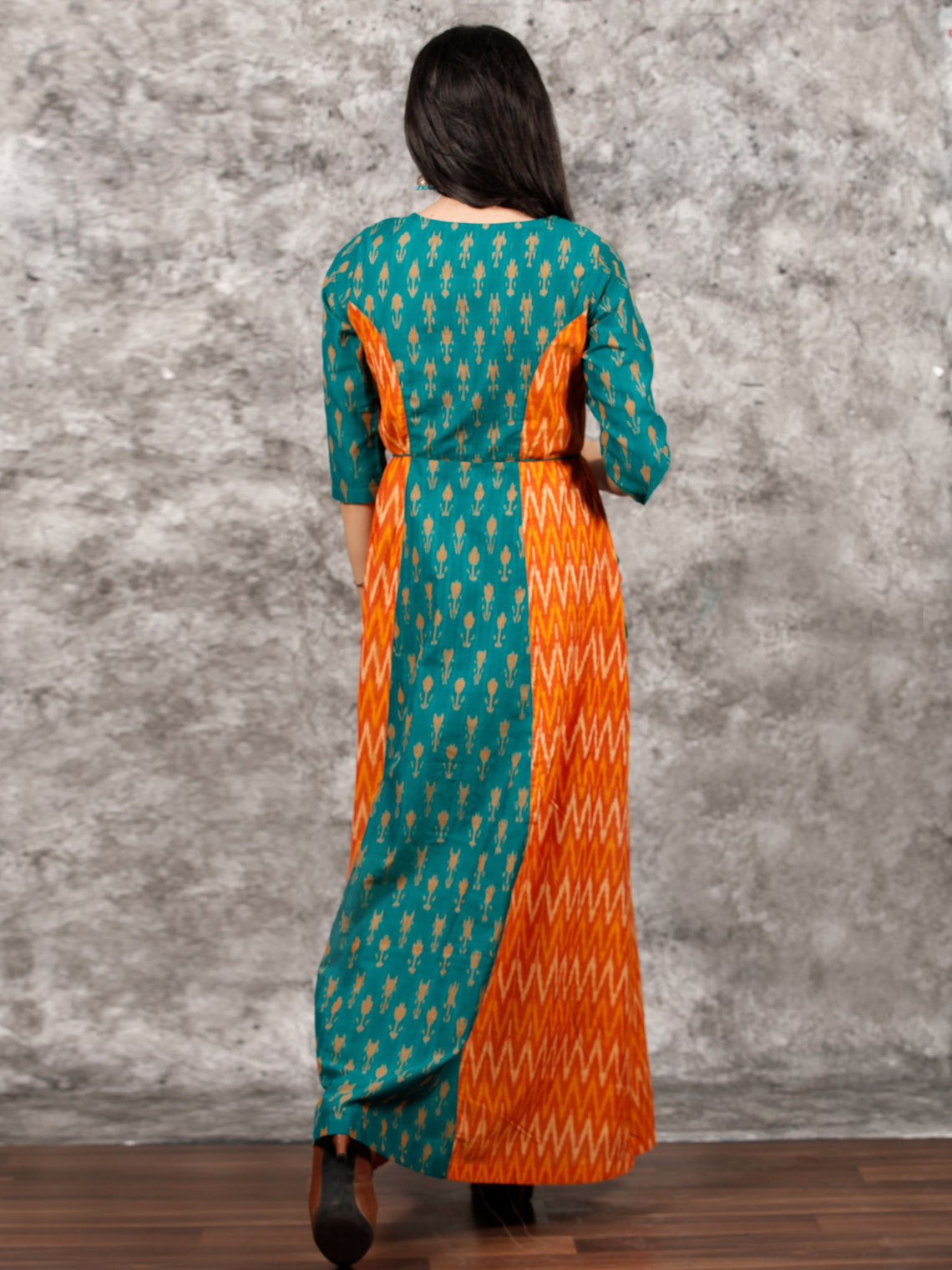 Green Orange Yellow Hand Woven Cotton Mercerized Ikat Princess Cut Cotton Long Dress - D308F1572
