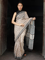 Beige Black Teal Blue Hand Block Printed Kota Doria Saree in Natural Colors - S031703550