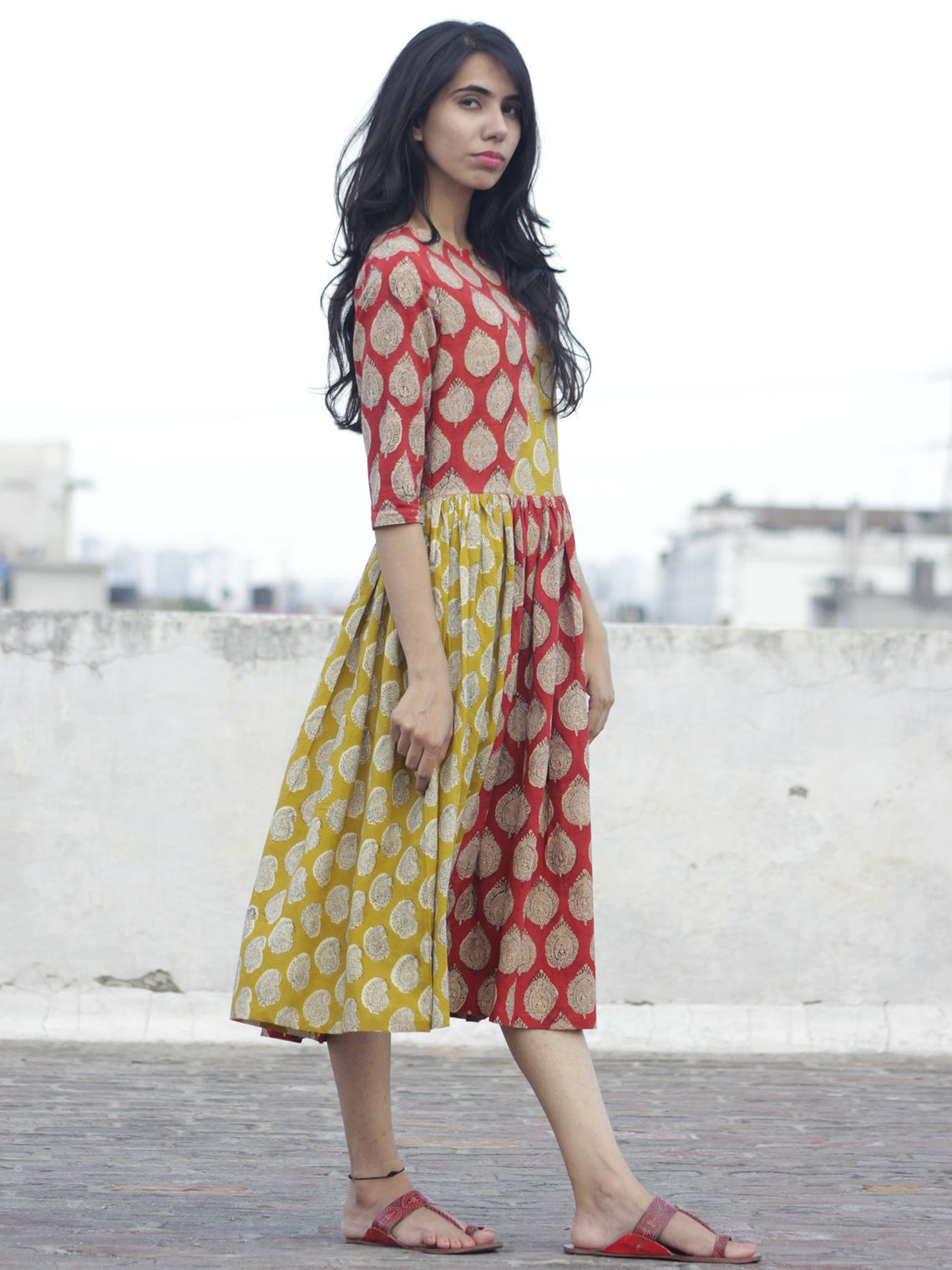 Red Mustard Black Ivory Hand Block Printed Cotton  Midi Dress - D100F890